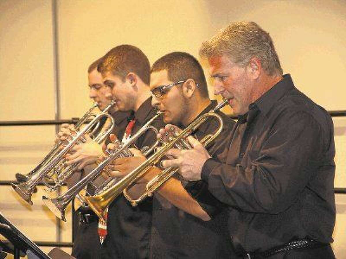 A quartet of horn players perform as part of Lone Star College-Montgomery's Jazz Ensemble during the Holiday Benefit Concert.