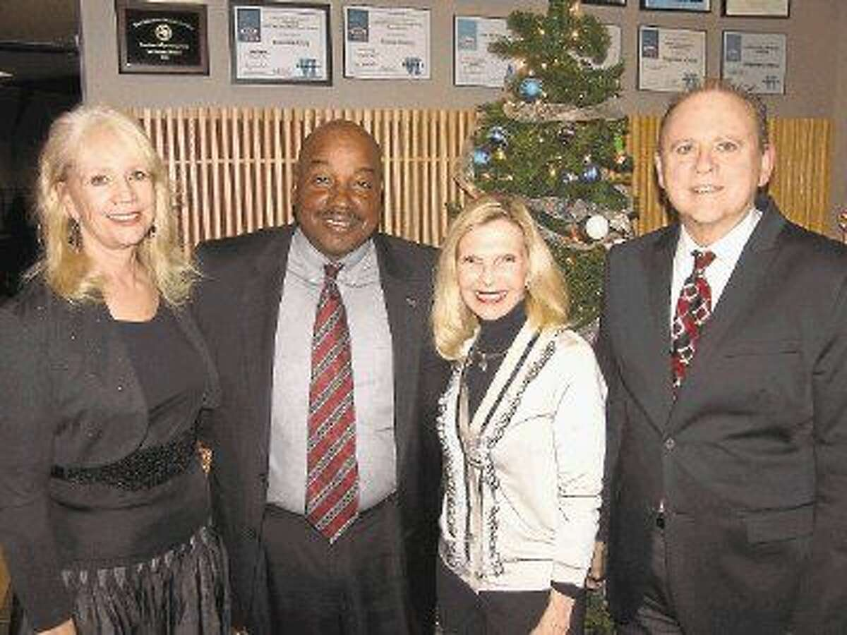 Pictured from left to right during concert intermission: Deborah Ellington, Instructional Dean; Wendell Williams, Vice President of Student Success; Dr. Ann Snyder, CEO of Interfaith of The Woodlands; and Dr. Earl Holt, chair of the LSC-Montgomery Music Department.