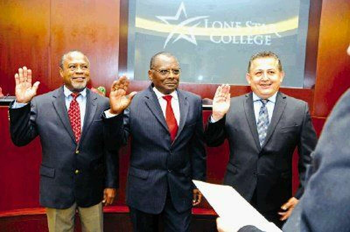 Ken E. Lloyd, Alton Smith and Art Murillo (pictured left to right) were sworn in as new Lone Star College System Board of Trustee members. Board members are elected to single member districts and are volunteers who serve without pay.