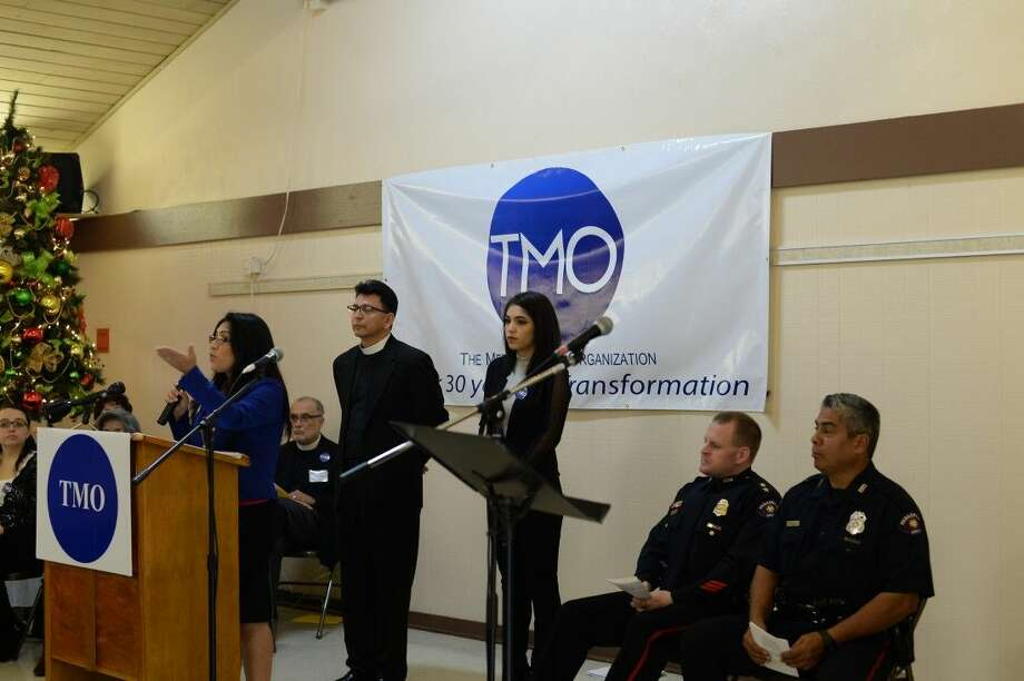 Leaders of St. Peter's Episcopal Church, the Metropolitan Organization and members of the community and law enforcement officials attended a public meeting Sunday morning to address crime in north Pasadena and to request more police presence in their neighborhoods. Photo: Y.C. Orozco