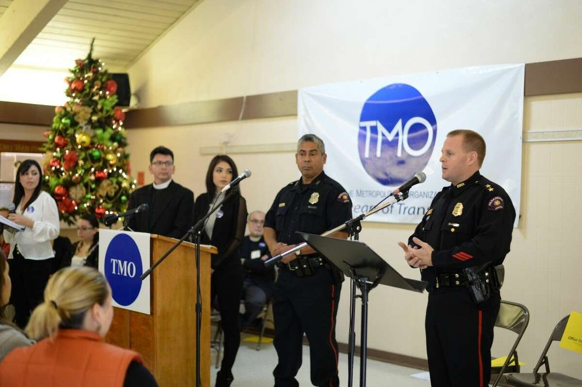 Pasadena PD Assistant Chief Josh Bruegger addresses residents and church leaders at a meeting held at St. Peter's Episcopal Church in Pasadena last Sunday morning.
