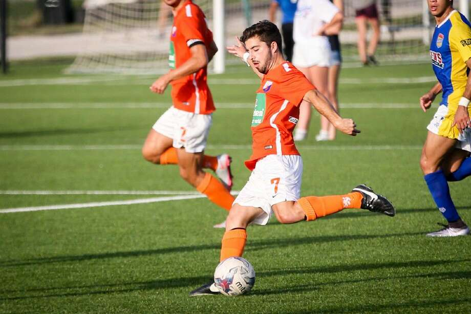 Houston Dutch Lions' Jose Pablo Covarrubias (7) kicks the ball during the soccer game against the Shreveport Rafters on Saturday, July 2, 2016, at the Houston Dutch Lions FC. To view more photos from the game, go to HCNPics.com.