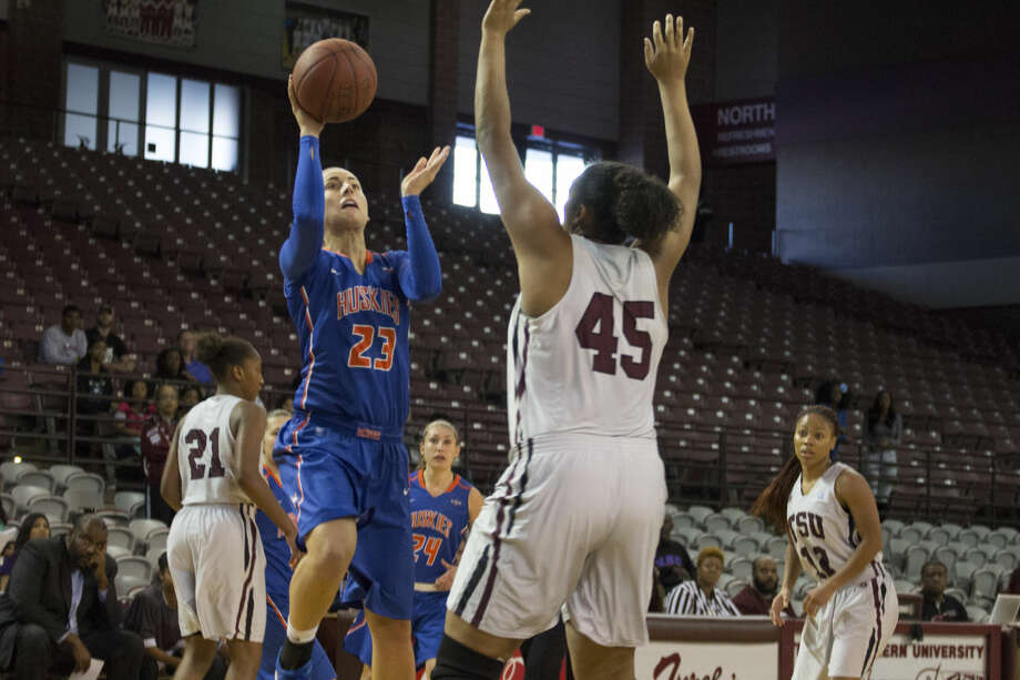 Anna Strickland amassed 20 points and 14 rebounds to lead Houston Baptist University to a 77-65 victory against Texas Southern, the Huskies' first win over TSU in six years. Photo: HBU Athletics