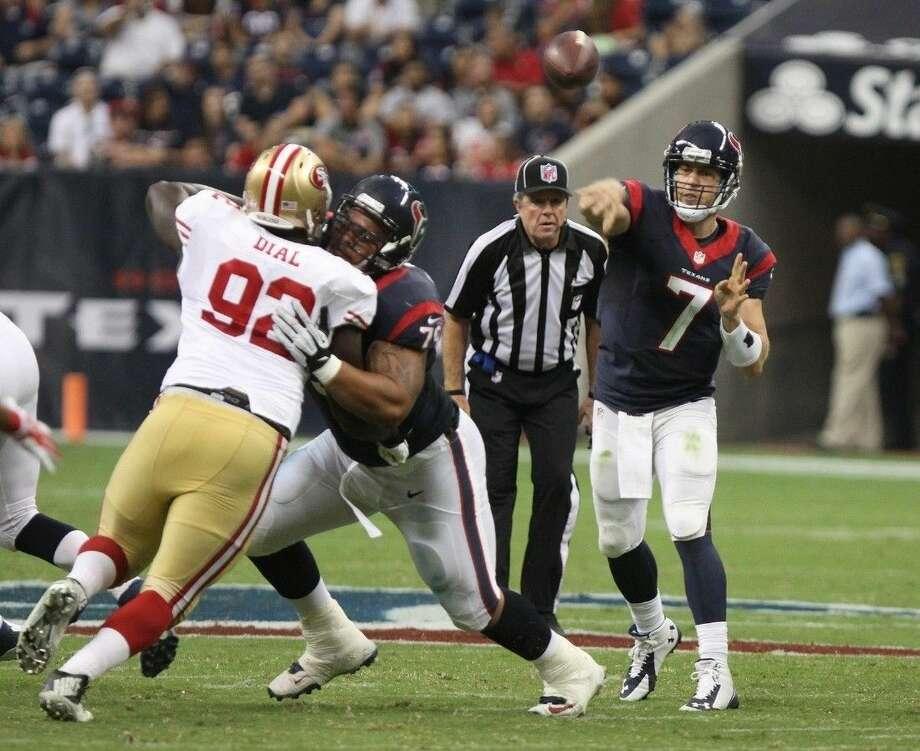 Houston Texans Case Keenum throws against the San Francisco 49ers at NRG Stadium in Houston, Texas on Thursday August 28, 2014.