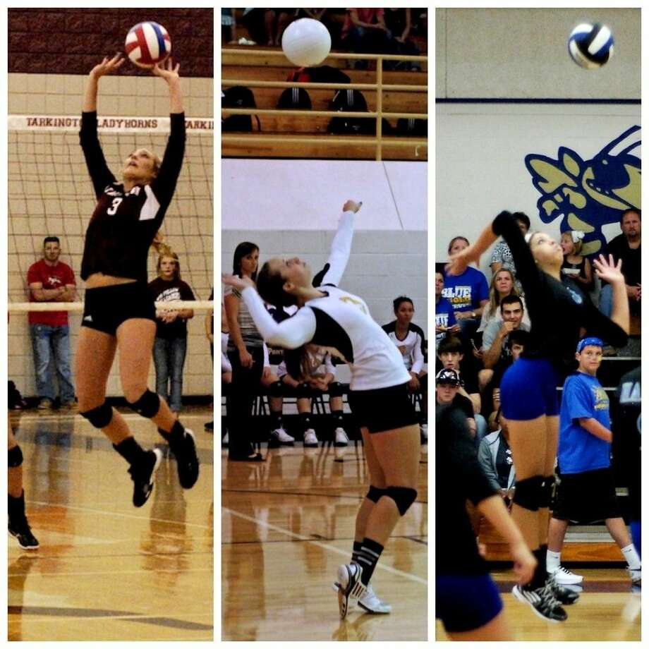 Madison O'Brien, Kaitlyn Slack, and Megan Davis have each been named to Texas Girls Coaches Association 2014-15 All-State volleyball teams. Photo: Casey Stinnett