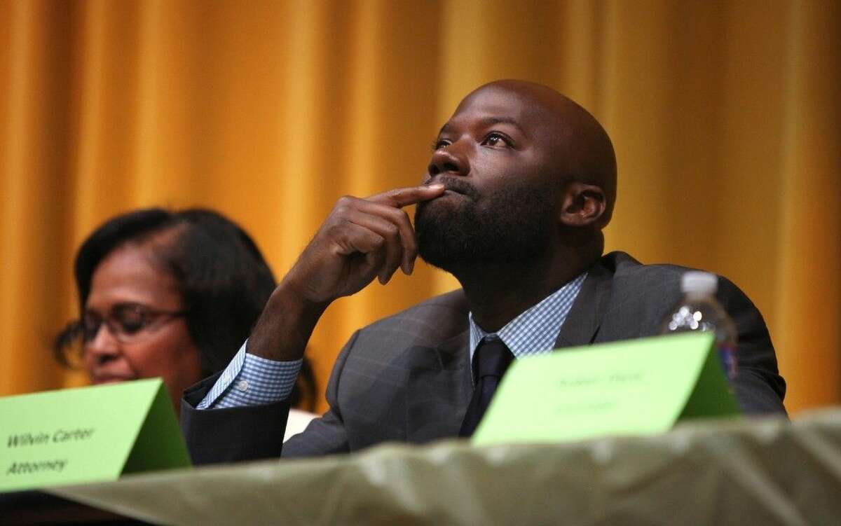 """Attorney Wilvin Carter at the Fort Bend County town hall meeting """"Getting Criminal Justice Right,"""" at Thurgood Marshall High School in Missouri City on Tuesday, Dec. 9."""
