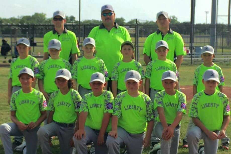 The Liberty Youth Baseball 9U team is going to state. In the front row, from left is Grady Silva, Parker Balch, Aiden Sampson, Nolan Kay, Justin Butler and Ethan Tulley, and in the back are Kody Sandefur, Cody Broom, Kenan Clevenger, Grayson Creel, Gage Pavliska and Jakobi Phillips with coaches Cody Jenkins, Wade Tulley and Daniel Balch. Photo: Submitted Image