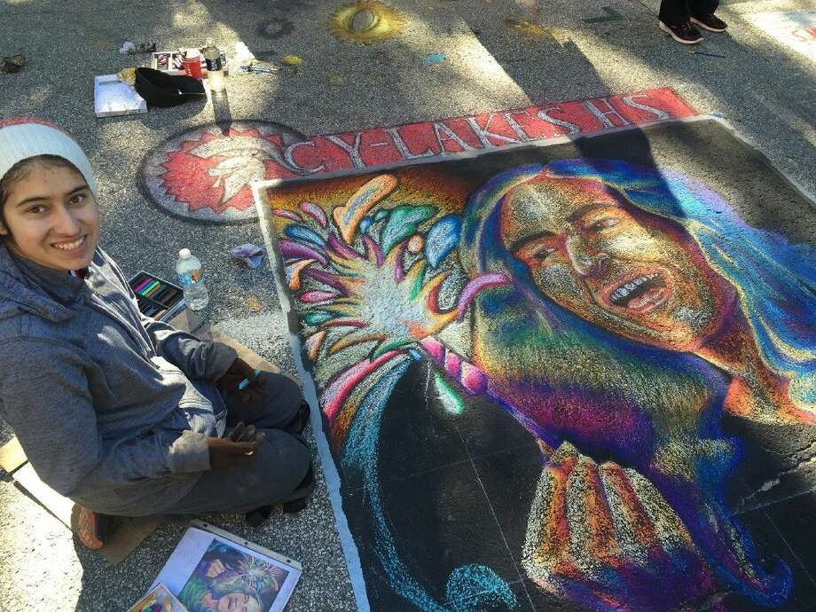 Cypress Lakes High School senior Alexandria Guerrero created this 10-by-10-foot mural for the Via Apprendista section of the Via Colori street painting festival, Nov. 21-22 in downtown Houston.