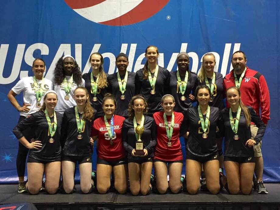 Willowbrook Volleyball, a Houston volleyball club, has won the USA Volleyball National Championship in the girls 16-and-under division. Back row, from left, Head Coach Gabi Carbone, Assistant Coach Janice Pressley, Camden Gray, Kendall Haywood, Camryn Kotlarz, Anota Adekunle, Audrey Harris and Assistant Coach Tony Lind. Front row from left Natalie Martin, Cora English, Nikki Grant, Elyse Buras, Abby Drzymalla, Natalia Munoz and Kiersten Sniscak.