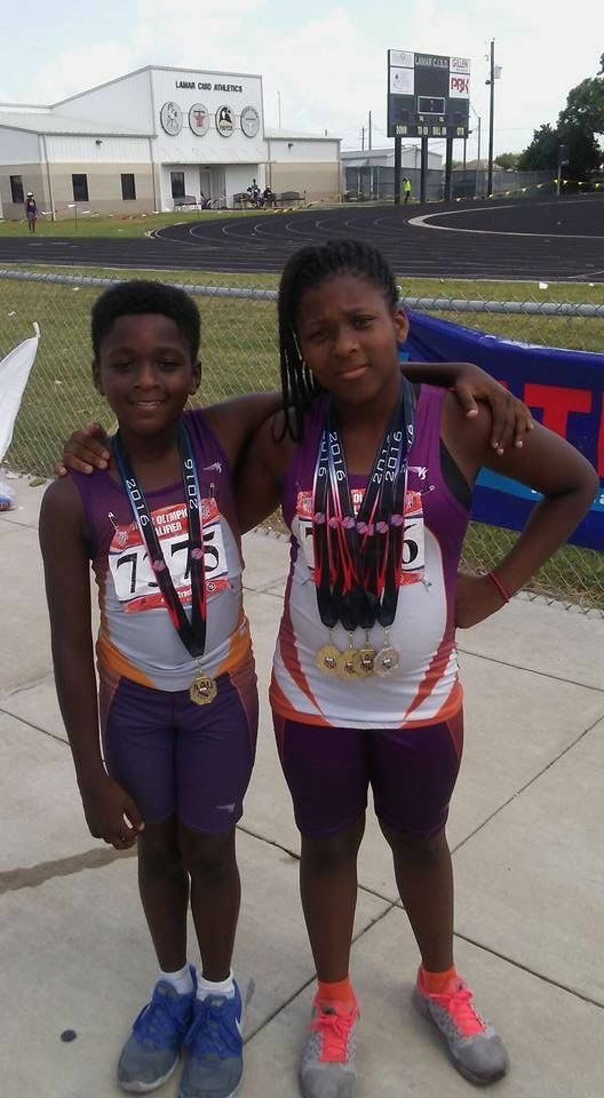 Siblings DaMario Gee (left) and Octavia Gee (right) both won AAU Region 17 championships at the national qualifier June 29-July 2 at Traylor Stadium in Rosenberg.