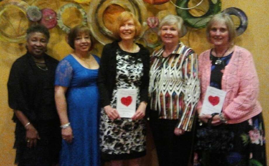 Local Delta Kappa Gamma Society members in Frisco at the 2016 Texas 87th Convention, from left to right: Ella Gauthier, Viola Vela, Carolyn Keck, Barbara Coon, and Marianne Wilms.