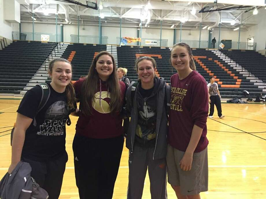 Shown here after their recent game together at UTD Activity Center in Richardson, TX. are Kelsey Scibek (UT-Dallas/Oak Ridge) Andrea Velez (Austin College/College Park), Amber Terry (UT-Dallas/The Woodlands) and Chrissy Ray (Austin College/The Woodlands)