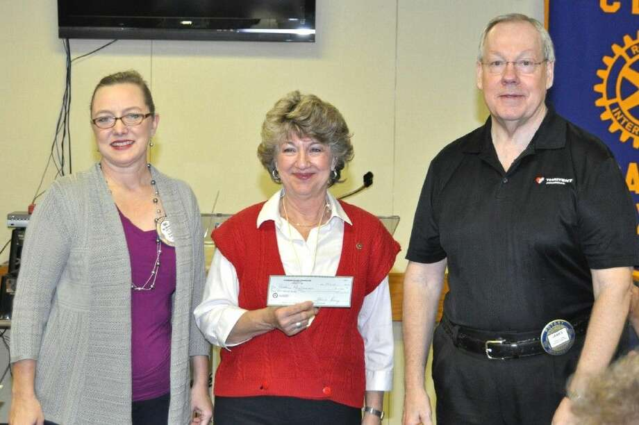 The Pasadena Philharmonic Society is the recipient of a 1000 grant from Pasadena Rotary's President Niki Whiteside. Pictures from left are President Niki Whiteside, Marilyn Wilkins and James Guthrie. The Philharmonic Orchestra, a Pasadena treasure, presents several concerts each year at the Slocum Auditorium at San Jacinto College.