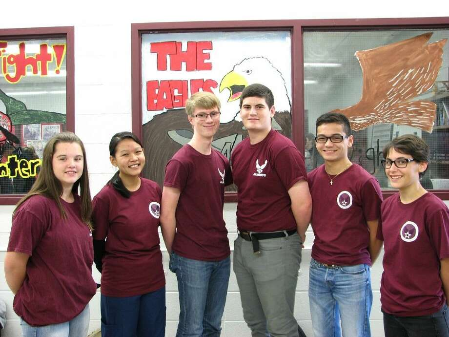 The Cy-Fair High School AFJROTC Academic Bowl team was one of three CFISD teams to advance past Level I of the International Academic Bowl competition. Pictured, from left, are Felisha Jones, freshman; and Lyly Bui, John D'Angelo, Thomas Drasgabek, John Mabida and Jessica McDonald, juniors.