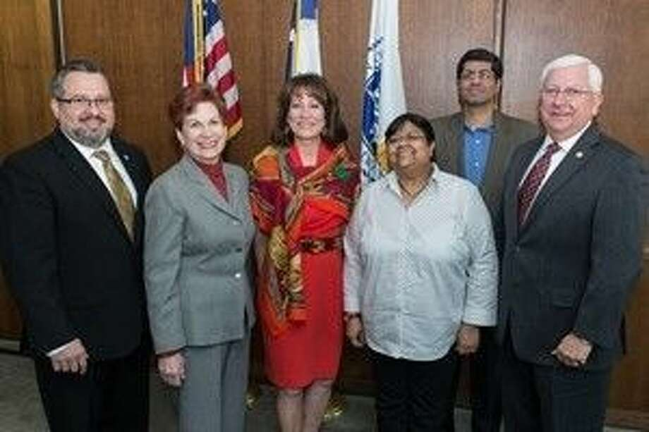John Moseley, Sr. Director, PHA Trade Development; Ellen Goldberg, Indian Film Festival of Houston (IFFH) Board Member and Immediate Past President, Sister Cities of Houston; Port Commission Chairman Janiece Longoria; Sutapa Ghosh, Founder and Festival Director, IFFH; Atul Badwal, IFFH Board Member; and Port Commissioner John Kennedy.