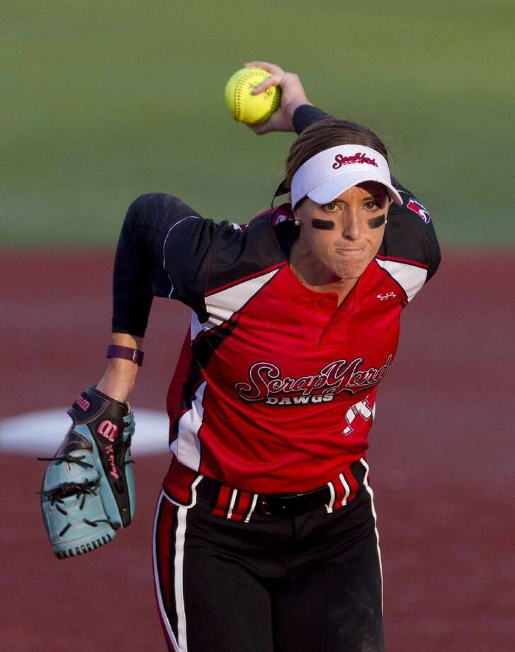 Scrap Yard Dawgs pitcher Monica Abbott throws a pitch during a game against the USSSA Pride earlier this season.