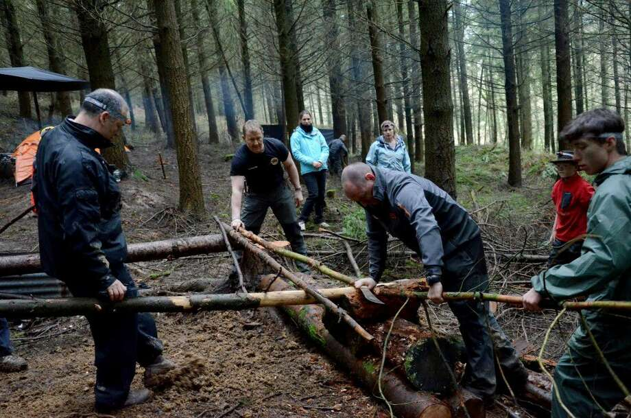 At the Bear Grylls survival camps, participants learn about the skills needed to build a rudimentary raft.