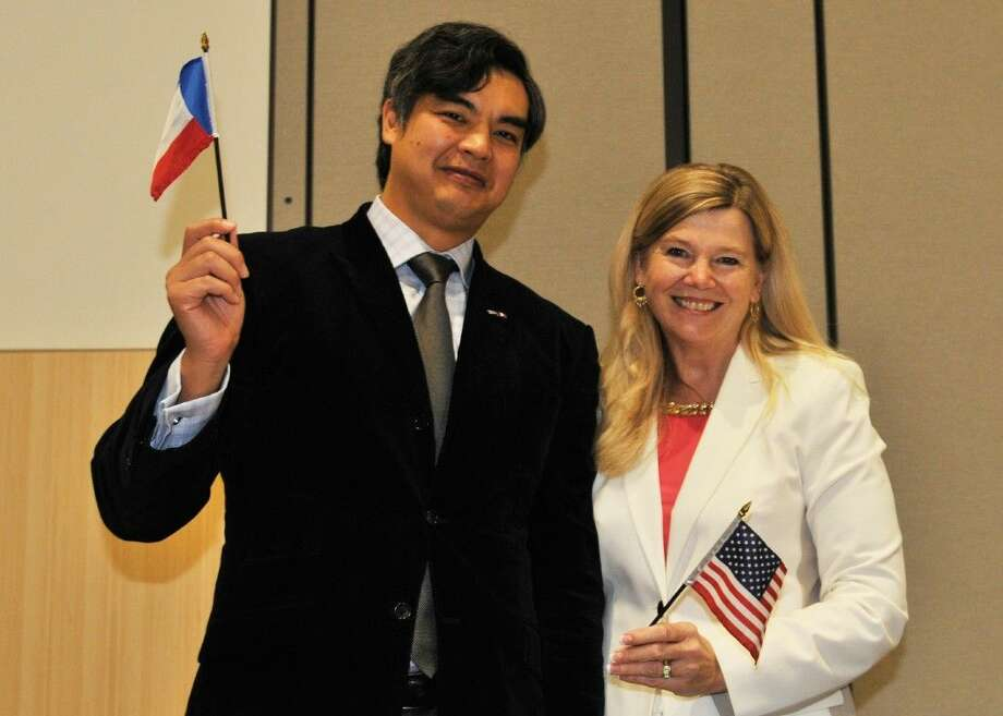Lone Star College and Stephen F. Austin University recently hosted a conference on Europe and Global Citizenship for Conroe ISD students. Pictured are The Honorable Sujiro Seam, Consul General of France in Houston, who spoke about the recent attacks in Paris and Dr. Theresa Kurk McGinley, LSC associate vice chancellor, International Programs. Photo: Submitted