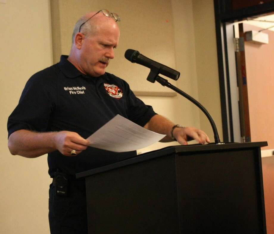 Brian McNevin makes a presentation to the Cleveland City Council in this June 2014 photo. McNevin was fire chief for the city until earlier this week when he was let go. He had served two years in that capacity. Photo: Jacob McAdams