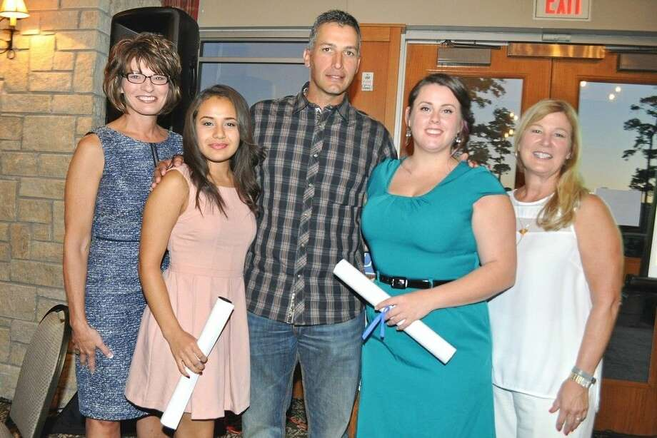 San Jacinto College Andy Pettitte Endowed Scholarship recipients pose for a photo with Pettitte at the reception for the 19th annual San Jacinto College Foundation golf tournament. Pictured left to right: Dr. Brenda Hellyer, Chancellor, San Jacinto College; Monica Frias, scholarship recipient; Andy Pettitte; Darby Macha, scholarship recipient; and Ruth Keenan, Executive Director, San Jacinto College Foundation. Photo credit: Andrea Vasquez, San Jacinto College marketing, public relations, and government affairs department.