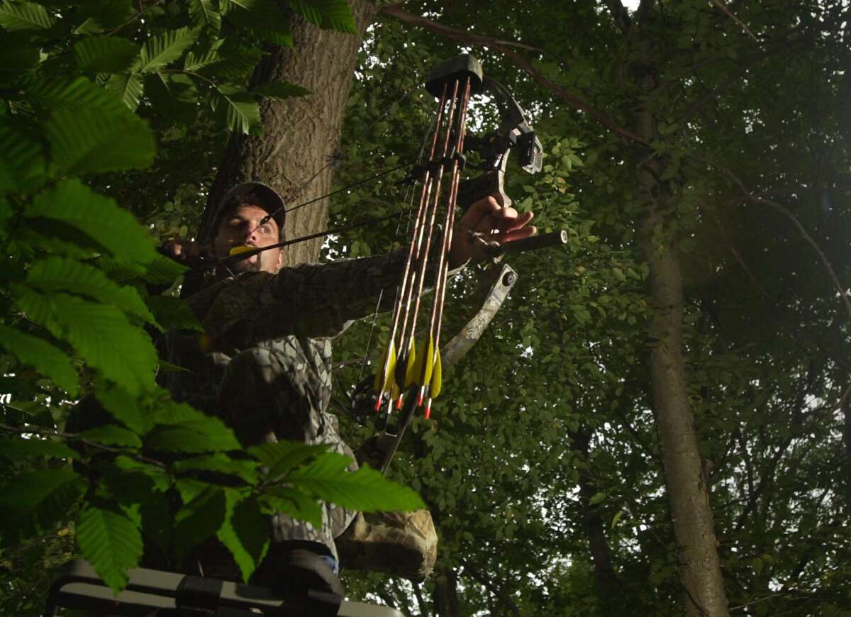 Bow hunters such as Guy Hanson of Norwalk are often asked by property owners to hunt around their homes to eliminate nuisance deer. Russ Kinne of New Canaan hopes to encourage about 100 owners of large properties to permit the hunters to hunt on their expansive grounds thereby culling the herd. Hanson took ten deer last season using the compound bow he's demonstrating.