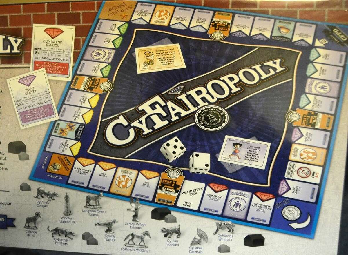 The Cy-Fairopoly board game, modeled after the classic Parker Brothers game, was developed by the 75th Anniversary planning committee and is available to purchase for 30.