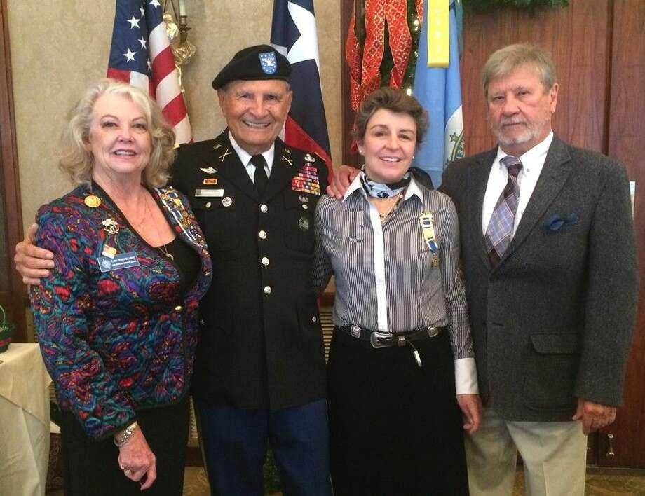 From left, Flora Calloway, Regent — Sam Houston Chapter DAR; Col. Frank Plummer, U.S. Army; Ret, Vizi Caldwell, Past Regent — Lady Houston Chapter, DAR and Texas State Artist Sam E. Caldwell.