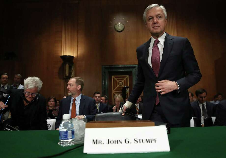"""WASHINGTON, DC - SEPTEMBER 20:  John Stumpf, chairman and CEO of the Wells Fargo & Company, arrives for testimony before the Senate Banking, Housing and Urban Affairs Committee September 20, 2016 in Washington, DC. The committee heard testimony on the topic of """"An Examination of Wells Fargo's Unauthorized Accounts and the Regulatory Response.""""  (Photo by Win McNamee/Getty Images) Photo: Win McNamee, Staff / 2016 Getty Images"""