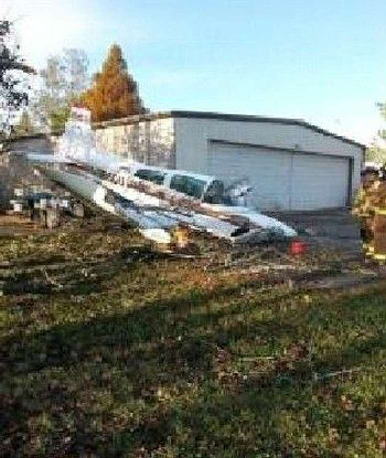 A small plane made a crash landing and ended up in the backyard of a Friendswood home Thursday (Dec. 17). Photo: Friendswood Police