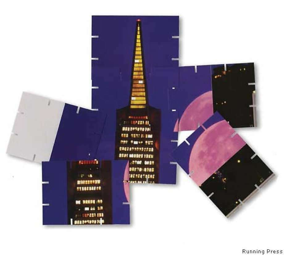 """The oddest use of the Pyramid might have been in """"Four Extraordinary Skyscrapers,"""" a 2005 publication by Running Press. Transamerica was chopped into cards that, when assembled, formed one side of a 2-foot-high illuminated screen around a table lamp. (Photo: Running Press)"""