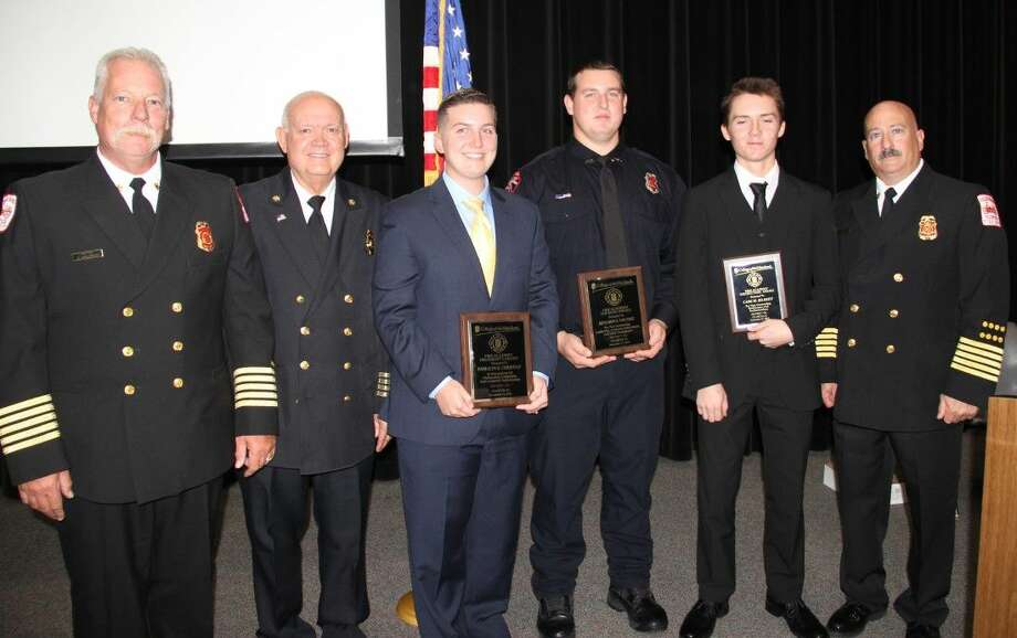 COM honored three Fire Academy students outstanding in skills, academics and leadership at the graduation Dec. 10. From left, Friendswood Fire Chief Stan Kozlowski, COM Director of Fire Technology Danny McLerran, class president Emmalyn Christian, Top Rung Award Winner Benjamin Van Dyke, Instructors' Choice Award Winner Cade Bilbrey and Captain of Pearland Fire Department Marc Faber.