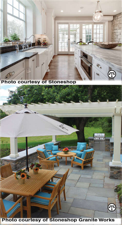 Photo courtesy of Stoneshop Silver Pearl Leathered Granite Perimeter and Mont Blanc Honed Quartzite Island. Photo courtesy of Swenson Granite WorksWoodbury Gray granite, Boston Blend Ledge thin veneer, full-color natural cleft bluestone pattern pavers. (NAPS)