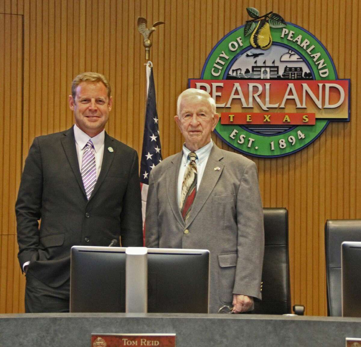 """Pearland Councilman Gary Moore, left, and Mayor Tom Reid were among the candidates endorsed for re-election in a letter distributed by a local real estate agent. The letter warned that """"liberal pro gay Democrats"""" sought to take over the City Council and school board."""