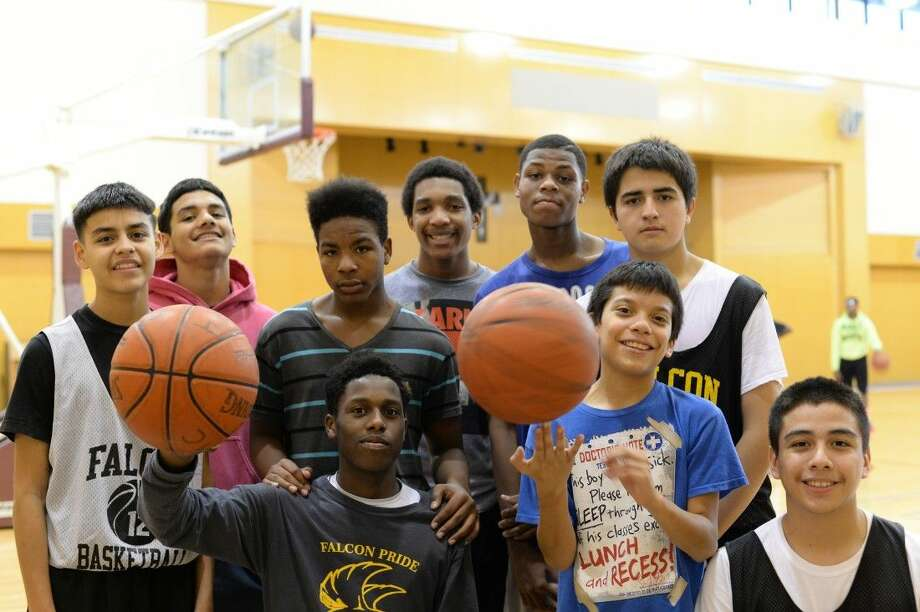 (top row from left)Roman Rios, ethan Ponce, J.P. Legras, Juarez Wrotten, Taylor Rambo, Edgar Garcia; (bottom row from left) Ian Butler, Angel Martinez, Cesar Corona. Miller Intermediate students have found a temporary home away from home on the court at First United Methodist Church Pasadena. Photo: Y.C. Orozco