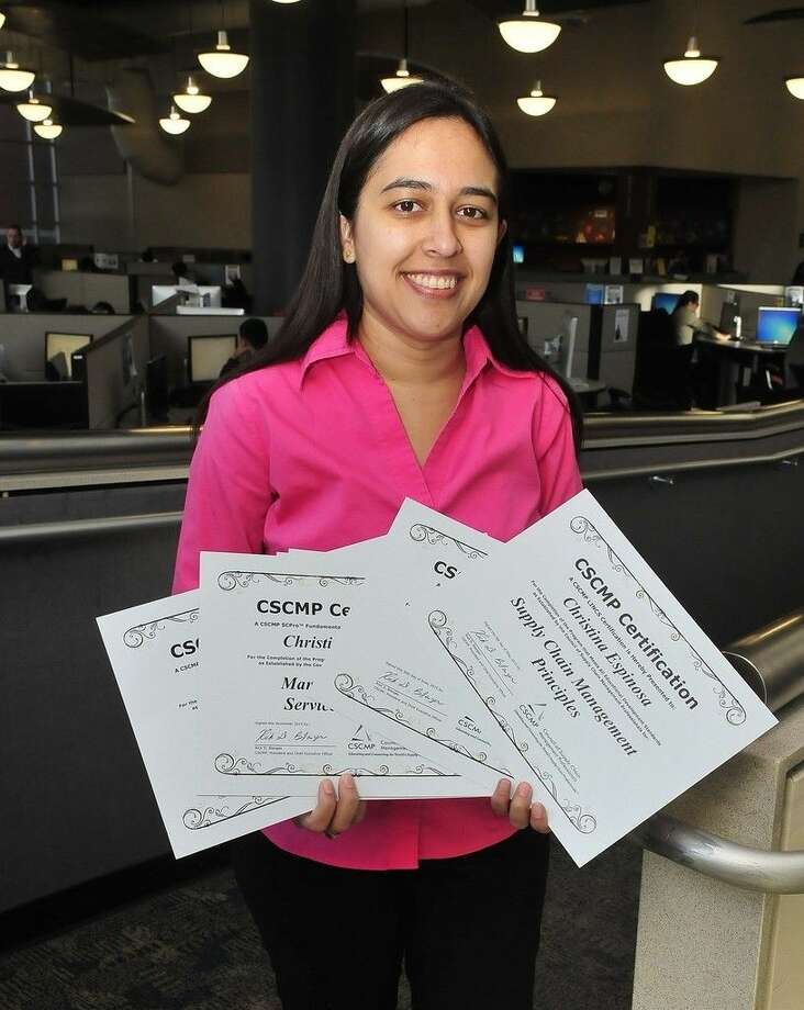 Christina Espinosa is one of five San Jacinto College students, the first group of students in Texas, to achieve all eight national Council of Supply Chain Management Professionals certifications offered through the LINCS Supply Chain Management Program at San Jacinto College. Photo credit: Jeannie Peng-Armao, San Jacinto College marketing, public relations, and government affairs department.