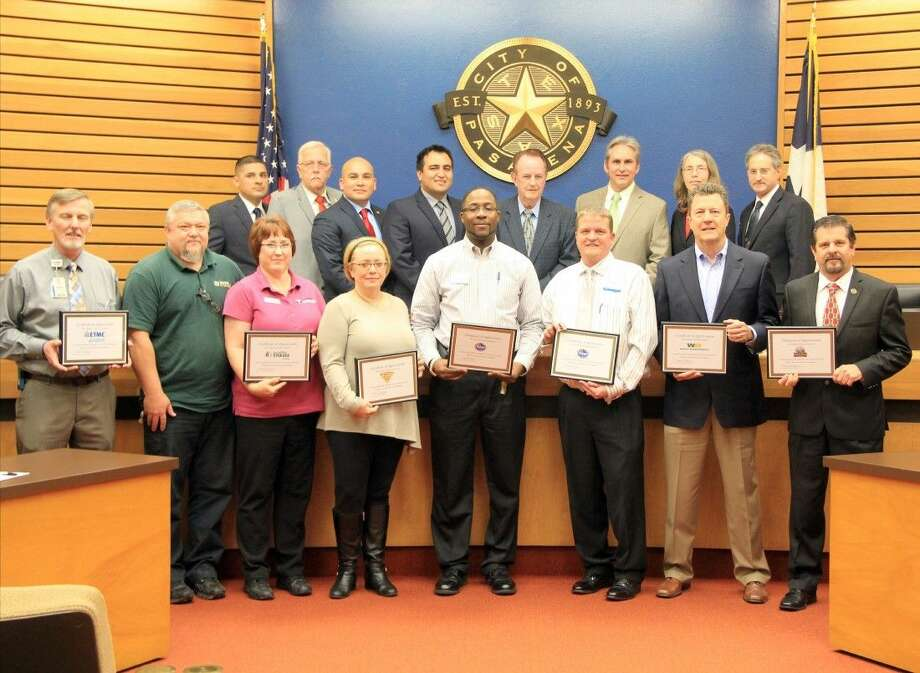 The Pasadena City Council and Mayor Johnny Isbell honored a group of businesses and community members for their help sponsoring the recent Can Do Food Drive. Photo: Kristi Nix