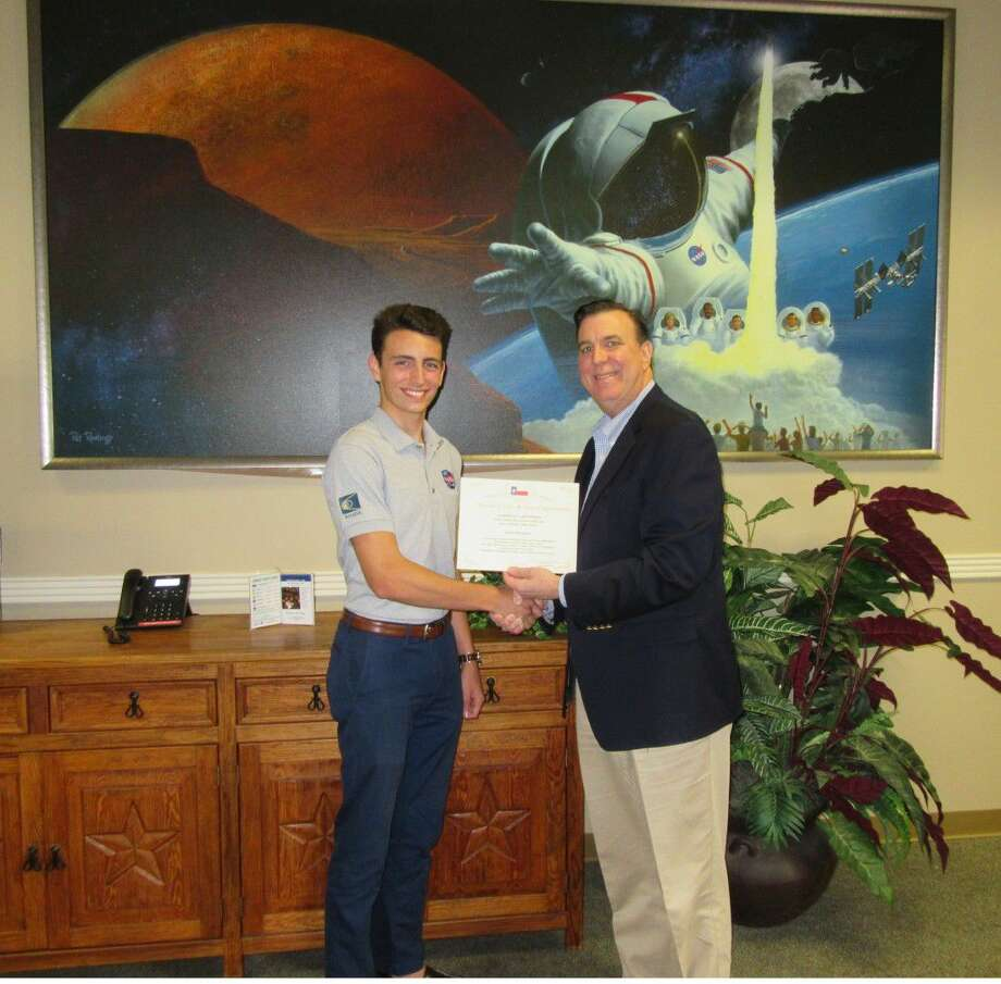 Clear Brook High School student Carter Rodriguez, left, has been selected to visit NASA's Johnson Space Center (JSC) this summer to participate in the High School Aerospace Scholars program (HAS). Nominated by State Representative Dennis Paul, right, Rodriguez was selected as one of more than 260 high school juniors from across Texas to be part of HAS.