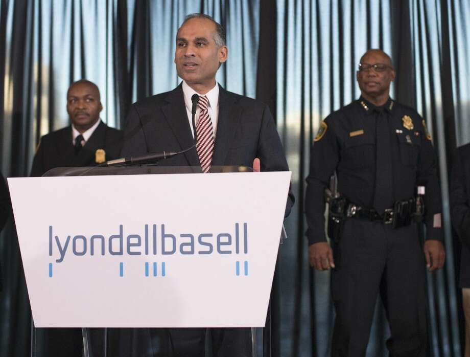 Pictured (left to right): Houston Fire Chief Rodney West; LyondellBasell CEO Bob Patel; and Houston Police Chief Charles McClelland. LyondellBasell makes a holiday donation of 70,000 to the Fire Fighters Foundation of Houston and the Houston Police Foundation. The funds will be used to purchase search and rescue boats, and tactical safety vests.