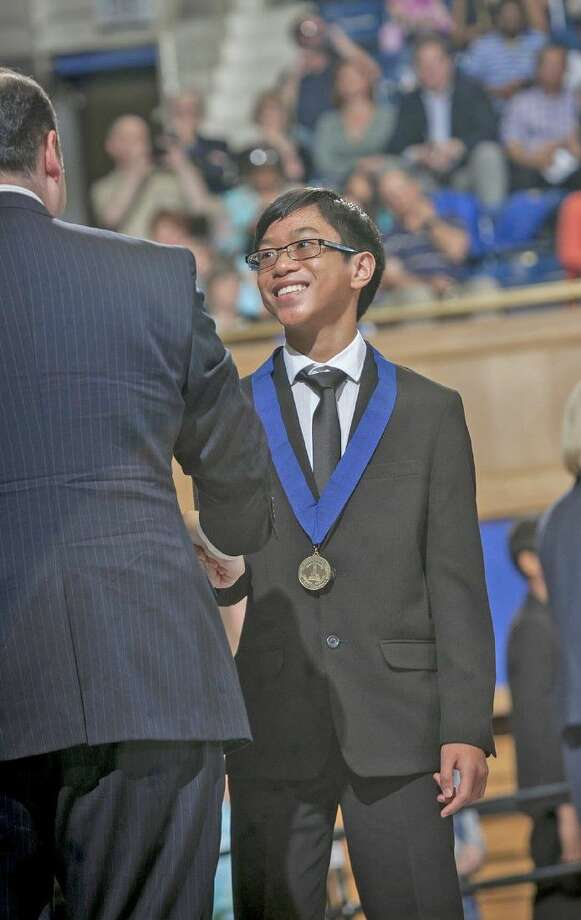 Gabriel Bolanos, incoming eighth-grade student at Aragon Middle School, is honored at the Duke TIP 7th Grade Talent Search 2016 Grand Ceremony, held May 16 at Duke's Cameron Indoor Stadium. Bolanos was one of 18 CFISD seventh-grade students recognized. Photo: Submitted Photo