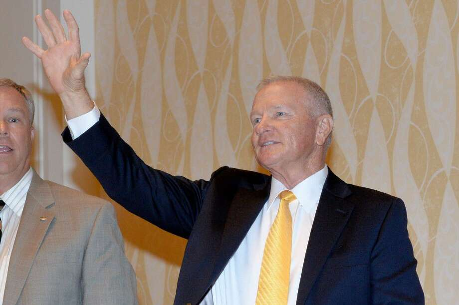 Baylor Head Football Coach Jim Grobe is introduced at the Houston Touchdown Club. He spoke with athletes, fans and family about his life story and hopes for the upcoming season. Photo: Craig Moseley