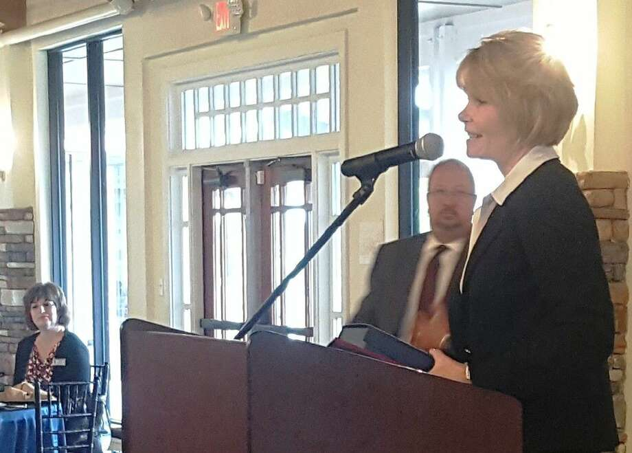 Melinda Stephenson, CEO of Kingwood Medical Center Hospital, accepts the award for Healthcare Professional of the Year during the 2016 Salute to Healthcare Luncheon at The Overlook in Atascocita Tuesday, July 19.