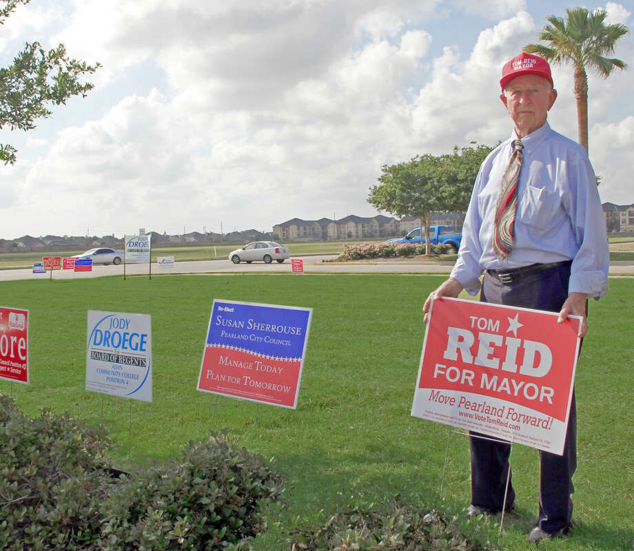 "Pearland Mayor Tom Reid, shown during a previous campaign, is among the candidates supported in a letter warning that ""liberal gay rights Democrats"" are trying to take over the City Council and school board. Reid has denounced the letter."