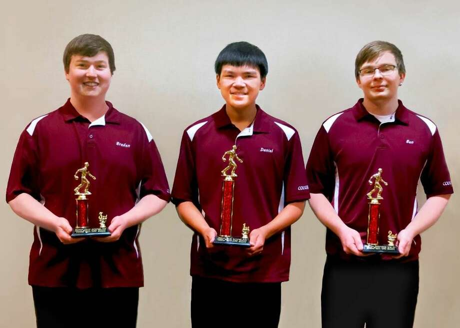 Cinco Ranch bowlers (from left) Braden Thom, Daniel Gaw, and Ben van Oostendorp took the top three individual spots in Katy ISD. The team finished 17th in the state. Photo: Submitted Photo