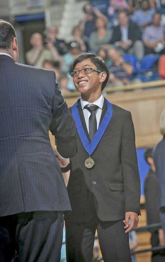 Gabriel Bolanos, incoming eighth-grade student at Aragon Middle School, is honored at the Duke TIP 7th Grade Talent Search 2016 Grand Ceremony, held May 16 at Duke's Cameron Indoor Stadium. Bolanos was one of 18 CFISD seventh-grade students recognized.