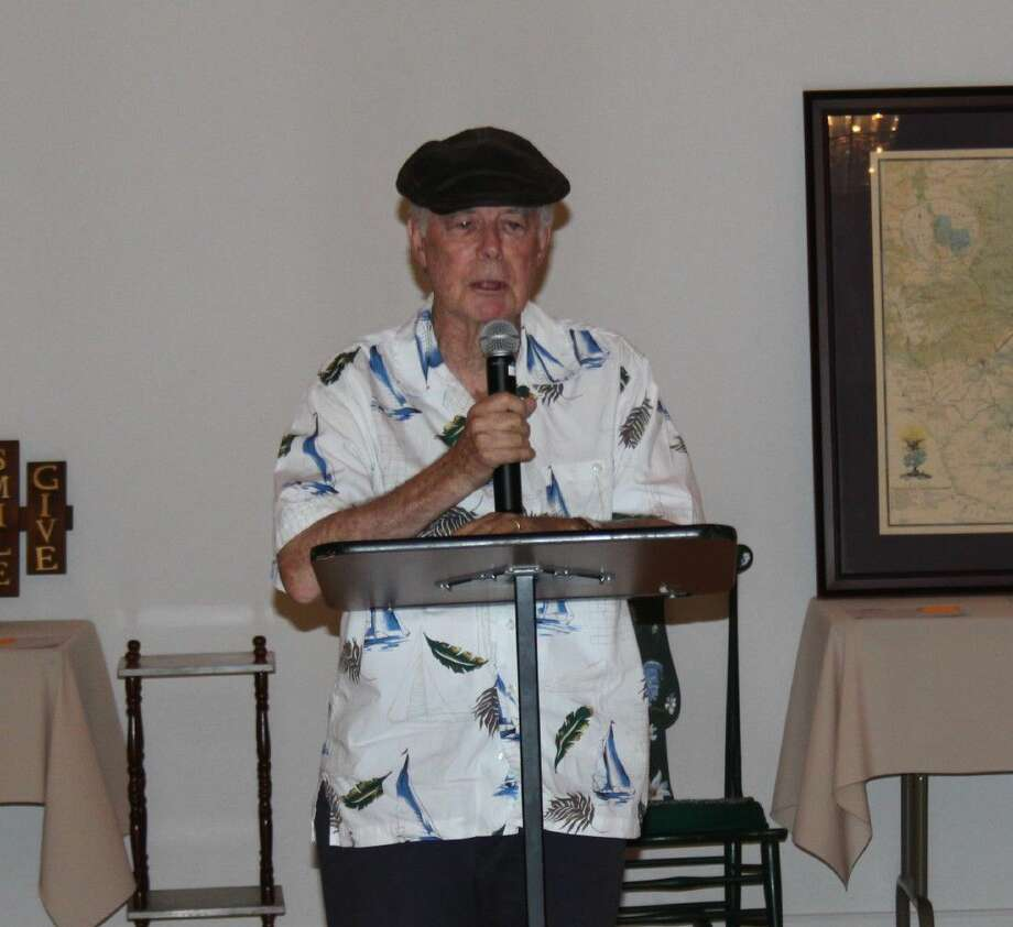 """Author Jerry Fryrear describes his newly published book, """"Jake Darling, Private Eye,"""" at the Coldspring Book Review, held at the Coldspring United Methodist Church on July 14. Photo: Jacob McAdams"""