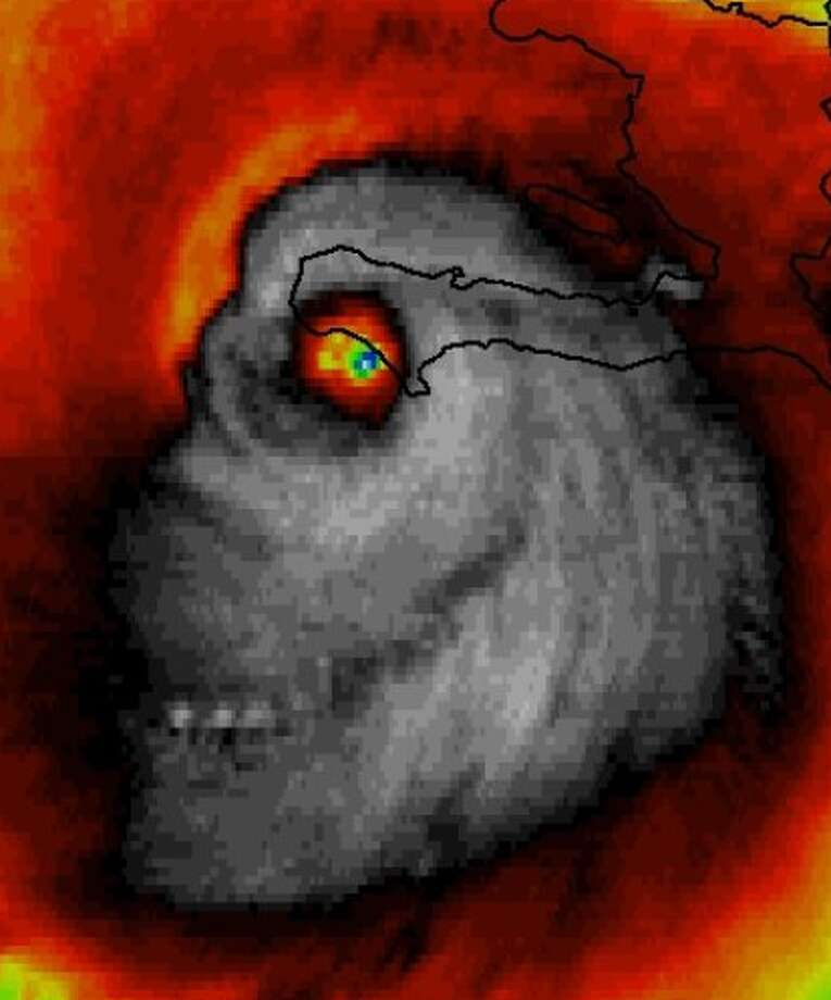 A NASA satellite image of Hurricane Matthew that looks like a grinning skull has been scaring the internet. Oct. 4, 2016.Click through to see memes about Texas weather.