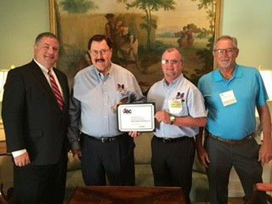 Houston City Council Member Greg Travis, District G, joins Mobil Steel President & CEO, Leonard A. Bedell, General Manager Mark Scott, and Project Manager Michael Dunavant as they accept the Associated Builders and Contractors Greater Houston STEP safety award for continuously improving employee safety, health and well-being.