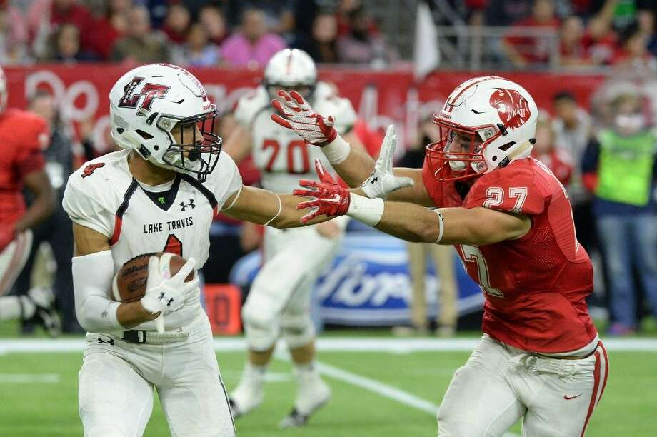 Katy senior safety Collin Wilder makes a tackle against Lake Travis during the Class 6A Division II State Championship Game, Dec. 19 at NRG Stadium in Houston. Wilder was voted District 19-6A MVP. Photo: Craig Moseley