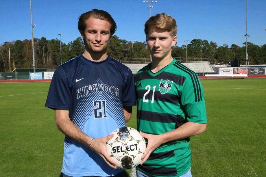 Kingwood High School's Jakob Murray, left, and Kingwood Park High School's Jacob Zaunbrecher prepare to play each other Jan. 5, 2016 for a good cause.