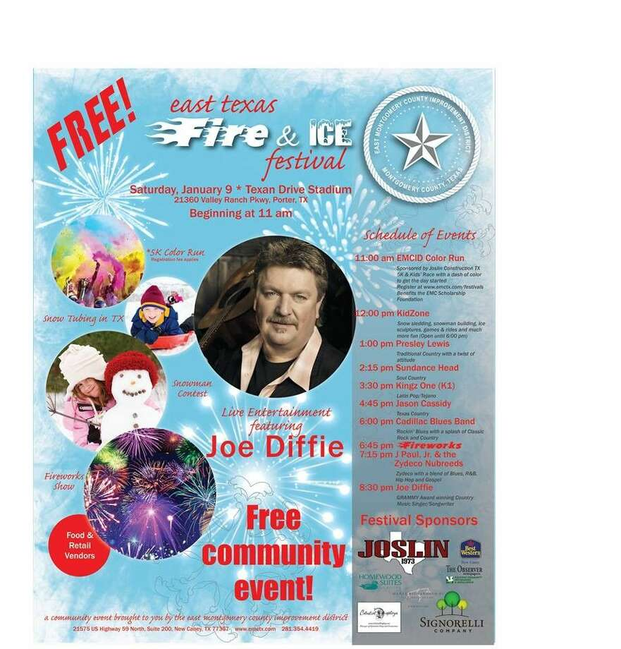 The East Texas Fire and Ice Festival features a Color Run, KidZone with a snow hill, live bands, vendors and a firework show.